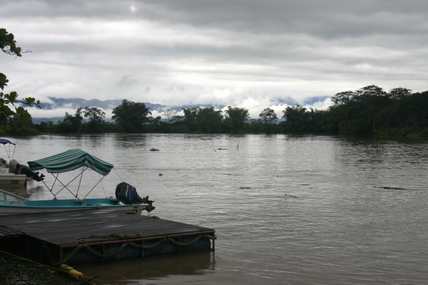 The river at the Sierpe dock, where boats travel out to the Osa Peninsula. You can see the clouds clearing over the mountains in
