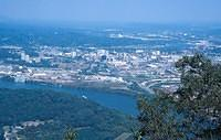 The City of Chattanooge and the Tennessee River viewed from the top of Lookout Mountain.
