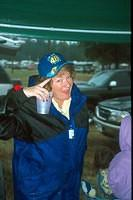 Lesley shows off her Jimmie Johnson hat.