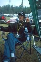 Cami relaxes beneath the canopy, a necessary item if you are going to the fall NASCAR race in Atlanta.