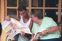 Greg and Sue check directions from from Liberia to Quepos and Manuel Antonio, where we'll be staying for the week.  Actually, I