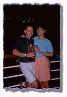 Scott and Cami enjoy a drink on the deck of the cruise ship before setting sail for the Caribbean.